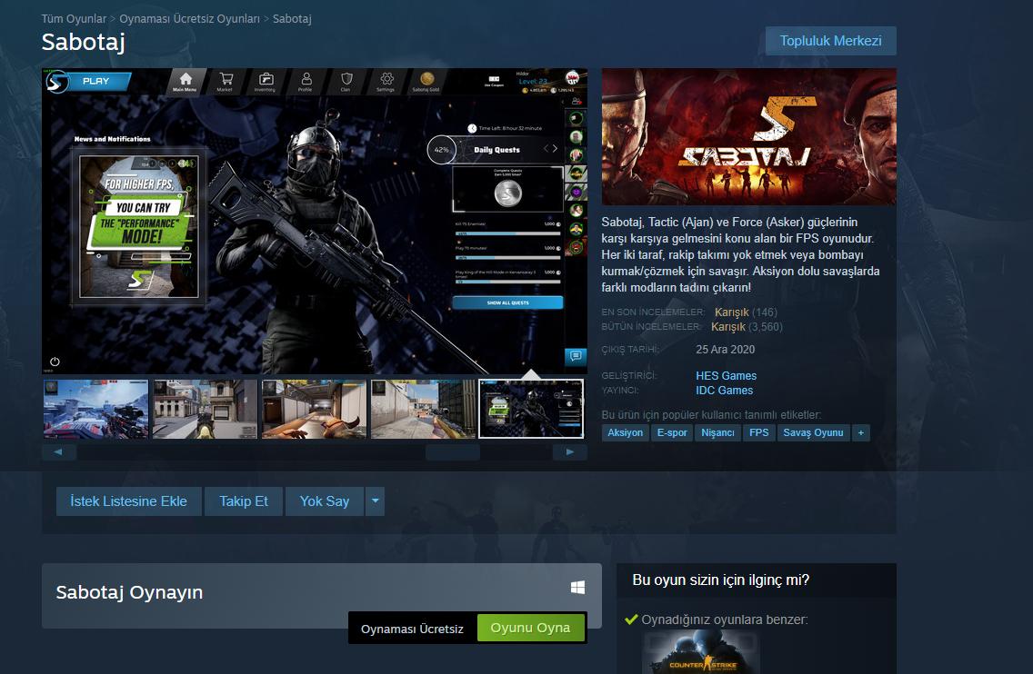 Sabotaj Steam Sayfasi