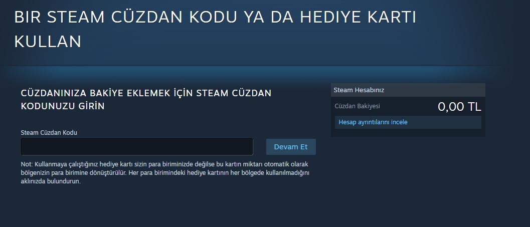 Steam Cüzdan