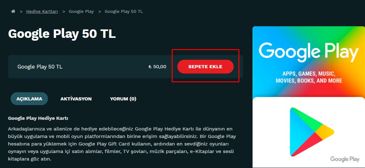 Google Play Sepete Ekle