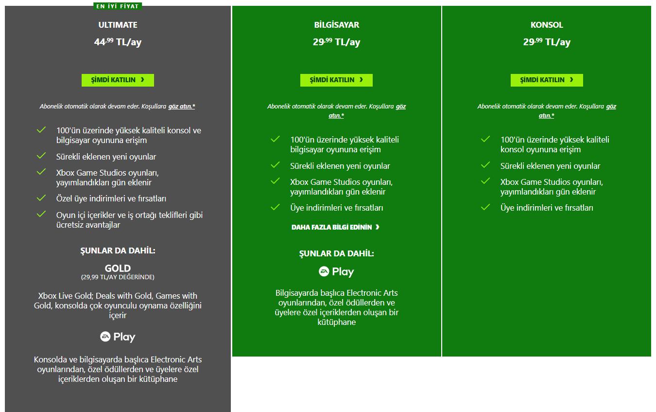 xbox game pass üyelik paketleri